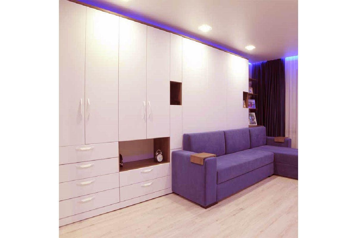 Кровати трансформер  с шкафами и диваном фиолетовым: пр. Победителей