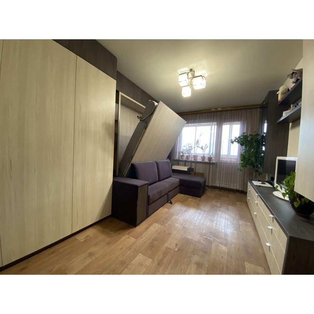Шкаф-кровать  с угловым диваном, шкафом и стеклянными шкафчиками и комодом : ул. Курасовщина