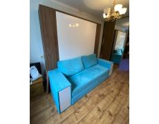 Кровать трансформер с бирюзовым диваном