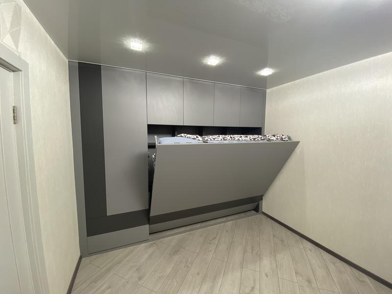 Кровати трансформер горизонтальная с шкафом серая: пр. Победителей